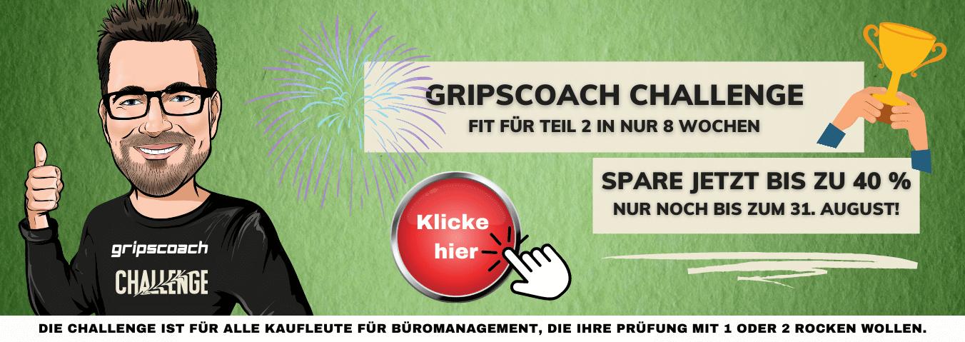 Gripscoach Challenge - Spare bis zu 40 %. Nur noch bis zum 31. August!